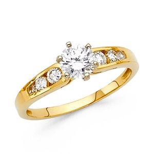 4-Prong & Channel-Set Round-Cut CZ Engagement Ring